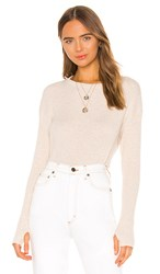 Enza Costa Cashmere Blend Thermal Loose Cropped Long Sleeve Top In Beige. Oatmeal