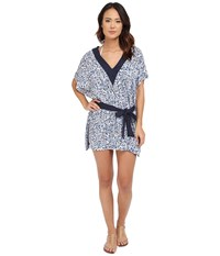 Michael Michael Kors Chilitington V Neck Tunic Cover Up New Navy Women's Swimwear