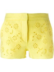Ermanno Scervino Floral Embroidered Shorts Yellow And Orange