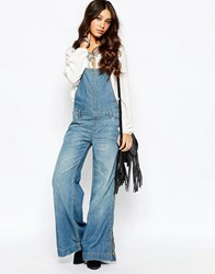 Free People Ring Back Overalls Bee Wash Blue
