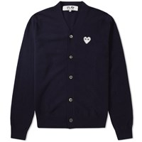 Comme Des Garcons Play Silver Heart Cardigan Blue