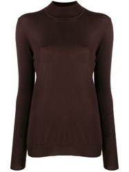 Tom Ford High Neck Knit Top Brown