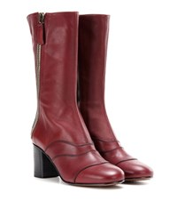 Chloe Lexie Mid Calf Leather Boots Red