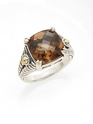 Effy Smoky Quartz Sterling Silver And 18K Yellow Gold Square Ring