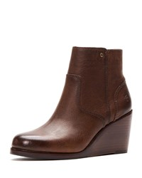 Frye Emma Short Wedge Boots Brown