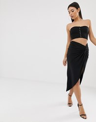 Club L Knot Front Ruched Skirt In Black