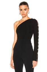 David Koma Loops And Metal Balls One Sleeve Bodysuit In Black