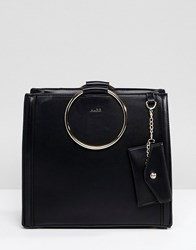 Aldo Tote Shopper Bag With Circle Ring Handle Detail Black