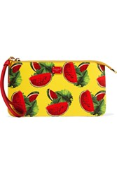 Dolce And Gabbana Printed Textured Leather Pouch Yellow