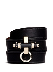 Givenchy 'Obsedia' Stud Triple Wrap Leather Bracelet Black