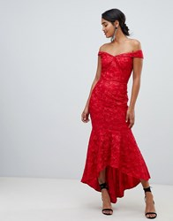 Chi Chi London Bandeau Embroidered High Low Maxi Dress In Red