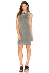 Bobi Burnout Pilled Terry Crew Neck Tank Dress Green