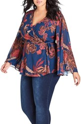 City Chic Plus Size Fire Bloom Wrap Top
