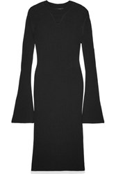 Ellery Jupiter Ribbed Knit Midi Dress Black