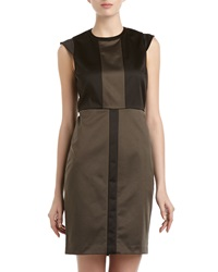 Marc New York By Andrew Marc Colorblock Satin Cap Sleeve Dress Green Black