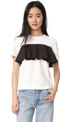 Edit Cotton Frill T Shirt White And Black
