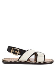Marni Two Tone Canvas Slingback Sandals Black Cream