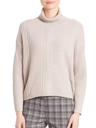 Peserico Virgin Wool Silk And Cashmere Cable Knit Sweater Beige