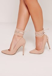 Missguided Lace Up Ankle Cuff Court Shoes Nude