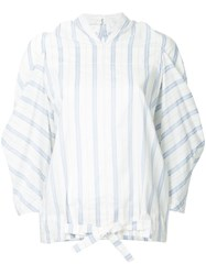 Nehera Stripe Draped Top White