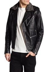 Hip And Bone Faux Shearling Trimmed Leather Biker Jacket Black