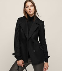 Reiss Lillie Wool Blend Button Front Coat In Black Womens