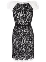 Paule Ka Lace Detail Fitted Dress Black