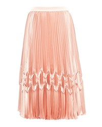 Ted Baker Crimsan Zig Zag Pleated Midi Skirt Rose Gold