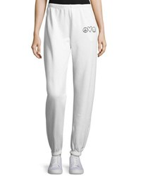 Peace Love World Fleece Pants With Graphics White