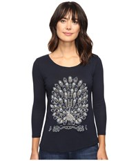 Lucky Brand Peacock Embellished Tee American Navy Women's T Shirt