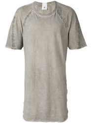 Lost And Found Rooms Taped T Shirt Cotton Linen Flax Grey
