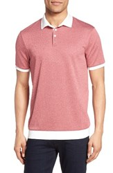 Vince Camuto Men's Contrast Trim Knit Polo Slate Rose Heather