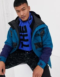 The North Face Logo Scarf In Blue Black
