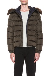 Moncler Byron Jacket With Fur Hood In Brown