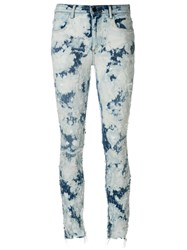 Alexander Wang T By Bleached Skinny Jeans Cotton Polyester Spandex Elastane Blue