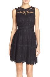 Women's Adelyn Rae Sleeveless Lace Fit And Flare Dress Black