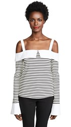 English Factory Long Sleeve Off Shoulder Top Black White