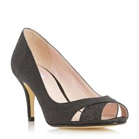Untold Delamare Cross Over Peep Toe Court Shoes Black Glitter