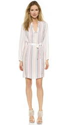 Twelfth St. By Cynthia Vincent Classic Henley Dress Blanket Stripe Print