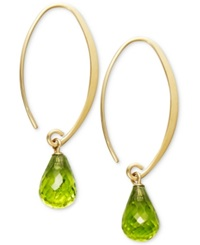Macy's 14K Gold Earrings Peridot Long Hoop Earrings 6 3 4 Ct. T.W.