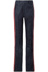 Calvin Klein 205W39nyc Velvet Trimmed Striped High Rise Straight Leg Jeans Dark Denim
