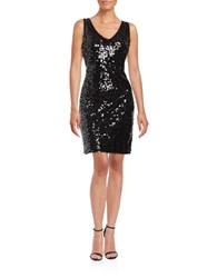 Jessica Simpson Sequined Sheath Dress Black Silver