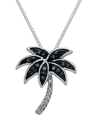 Lord And Taylor Sterling Silver Green And White Diamond Palm Tree Pendant Necklace
