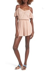 Lush Women's Embroidered Cold Shoulder Romper Rose Dust