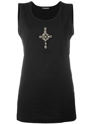 Dolce And Gabbana Crystal Beaded Cross Tank Top Black