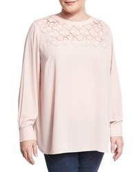Vince Camuto Long Sleeve Blouse With Embroidered Yoke Pink