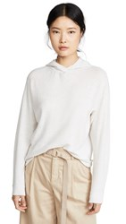 Vince Cashmere Overlap Hoodie Heather White