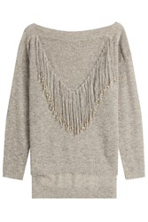 Mes Demoiselles Pullover With Beaded Fringe Grey