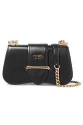 Prada Sidone Leather Shoulder Bag Black