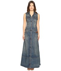 Just Cavalli Sleeveless Button Front Denim Maxi Dress
